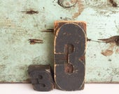 Vintage Printers Type Block Number 3 FREE SHIPPING
