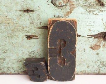 Vintage Printers Type Block Number 3 FREE SHIPPING