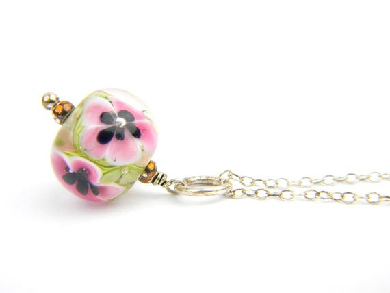 Art Glass Pendant - Medium Clear and Pink Art Glass Bead Sterling Silver Pendant - Classic Collection