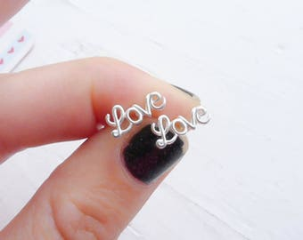 Love Script Earrings Sterling Silver Cursive Word Earrings Gift for Wife or Girlfriend