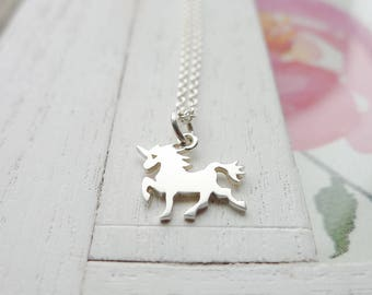 Unicorn Necklace Sterling Silver Charm Handmade Jewelry Adorable Party Gift Accessories Personalized Initial Letter