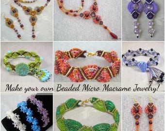TUTORIALS - Beaded Micro Macrame Jewelry - Intermediate Collection - Vol 2