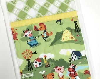 Pocket Pot holder Farm Animals Handmade Quilted