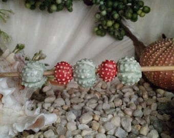 """5 handmade clay sea urchin beads 3 Mint Blue Green 2 Coral Sea Urchin beads 5/8"""" for jewelry ceramic porcelain - by Earth N Elements Pottery"""