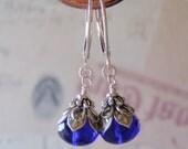 Cobalt Blue Earrings 9x6mm Czech Glass Dangle Sterling Silver Leverback Ear Wires