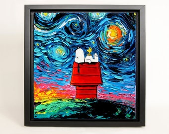 Snoopy Art FRAMED CANVAS print van Gogh Never Saw Woodstock Peanuts art starry night Aja 8x8, 10x10, 12x12, 16x16, 20x20, 24x24, 30x30