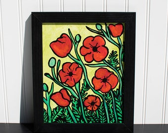 Poppy Painting - Red Poppies Wall Art - Original Mixed Media Floral Art - Flower Painting by Claudine Intner