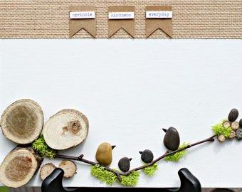 Black Bird Birdie Pebble Wall Art Canvas