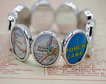 YOU CHOOSE Nine Locations U.S. or International Custom Atlas Map City State Elastic Bracelet