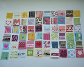 60 little mini notecards, lunch box love notes, mini shop notecards, tiny mixed lot notecards, 2 x 2 mini notecards, blank notecards, lot M3