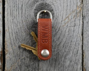 Leather Key Chain Organizer Fob with Free Monogram - Personalized Gift for Man Boyfriend Husband Brother Dad Grad
