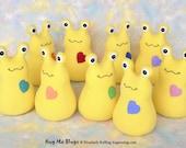 Custom Stuffed Slug, Handmade Stuffed Animal Plush Kids Baby Art Toy, Hug Me Slug, Personalized Tag, Yellow Fleece, Choice of Heart, 9 inch