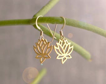 Gold Lotus Earrings, Lotus Flower Earrings, Lotus Jewelry, Yoga Teacher Gift, Gift for Yogi