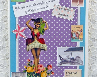 """You Make My World More Sparkley Card-You Make A Difference- Friendship Keepsake Card & 1"""" button- You Are The Best Card-Bffs"""