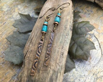 Turquoise and Copper Earrings, Copper Stick Earrings, Shield Earrings, Long Skinny Earrings, Gypsy Boho Earrings, Irish Gypsy, Copper Spiral