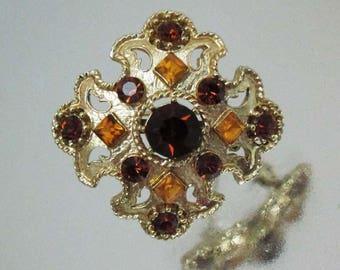 Vintage Maltese Cross Pin Cross Brooch Amber & Root Beer Rhinestones