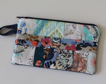 Denim Zipper Clutch, device cord pouch, metal zip pouch, makeup organizer, cosmetic bag, handbag, makeup, art gallery fabric, cotton steel