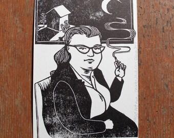 Shirley Jackson linocut letterpress portrait