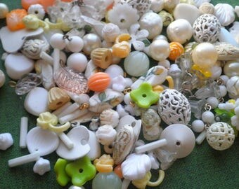 Vintage Bead Destash White Orange Yellow Green Glass / Plastic / Lucite / Metal Beads - Retro Mid Century Beading Lot Jewelry Making Supply
