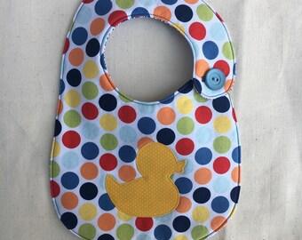 Rubber Ducky Polka Dot Infant Bib