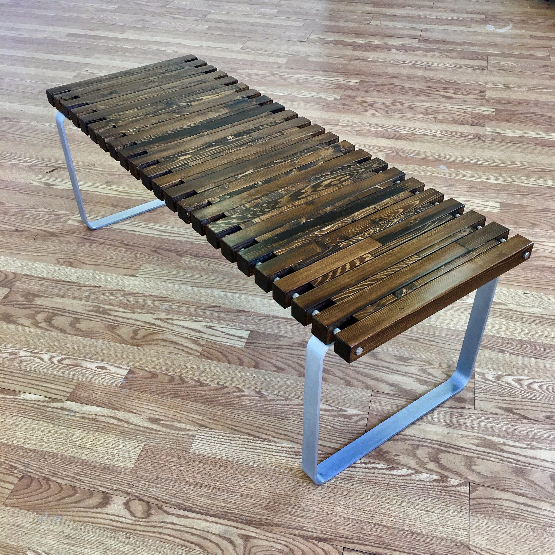 SPB 5 spruce slat bench Eames Era Mid Century Modern Design