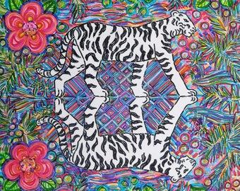 Greeting Card, White Tiger, Jungle of India, Vibrant Flowers, Graceful Feline, Ecofriendly, Spirit Animal, Mirror image, Spiritual message,