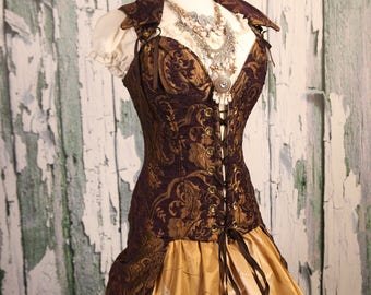 Waist 41-43 Purple and Gold Medallion Peacock Tailed Courtier Corset WAS 399