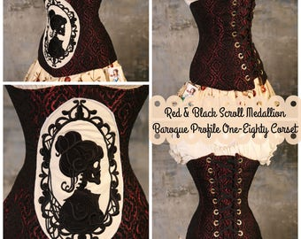 Waist 23-27 Red & Black Scroll Medallion Baroque Profile One-Eighty Corset