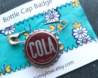 Vintage Cola Soda Bottle Cap Badge