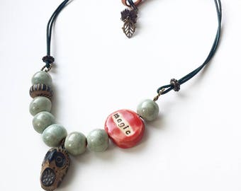 Magic Happens Beads and Leather Necklace