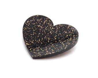 Black and Gold Glitter Acrylic Heart Brooch - Black Sparkle Love Heart Brooch - Laser Cut Glitter Heart Brooch - Stocking Filler Idea