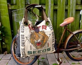 Tiger Brand Seeds - Peking Illinois - Open Tote - Americana Upcycle Vintage OOAK Canvas & Leather Tote... Selina Vaughan Studios