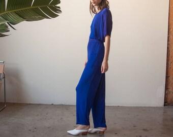 royal blue slinky pants set / matching lounge set / s / m / 2704t / B5