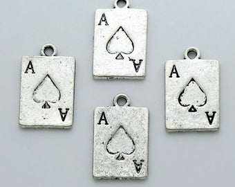 Ace of Spades Charms 10 pcs. Antique Silver Poker Card 2-sided 21x13mm