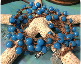 Long Necklace, Turquoise Necklace, Crochet Necklace, Turquoise African Trading Beads and Sterling Silver Crochet Bracelet/Necklace