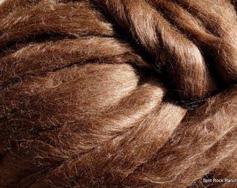 4 oz Brown Alpaca Tussah Silk Combed Top, Wool Roving to Spin, Felt, Create Fiber Art