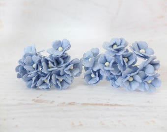 Paper flowers - 20 15mm blue mulberry paper hydrangea - blue paper flower - 1.5 cm paper hydrangea