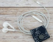 Fabric Cable iPhone Cord Holder Earphone Earbud Holder Cable Holder Cable Cord Organizer Cable Organiser - White Flowers on Navy Fabric