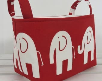 Storage and Organization Fabric Organizer Bin Container Basket - Ele Elephant - White on Red - Nursery Decor - Baby Room Decor