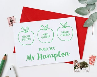 Teacher Card - Personalised Apples For The Teacher Card - Thank You Teacher Card - End Of Term Card - Personalised Card