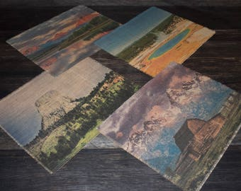 Scenes of Wyoming burlap placemats - set of four printed landscape photographs on natural burlap