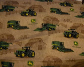 MadieBs Custom John Deere tractors on Brown Cotton  Pillowcase with Nane