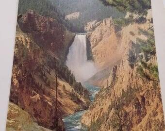 Beautiful Lower Falls & Grand Canyon Yellowstone National Park 1975 Postcard
