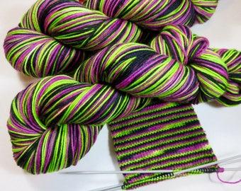 Handpainted Superwash Merino/Nylon 4-ply Sock Yarn -- STRIPING for Socks or Gloves -- Frankenstein