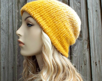 Double Knit Hat Cream and Yellow Mustard Womens Beanie, Mens Beanie, Reversible Thick Winter Hat - READY TO SHIP