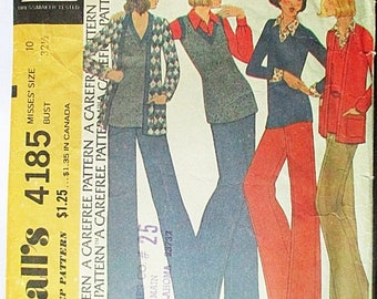 30% OFF SALE 1970s Vintage Sewing Pattern McCalls 4185 Misses Jacket, Top & Pants Pattern Size 10 Bust 32 1/2