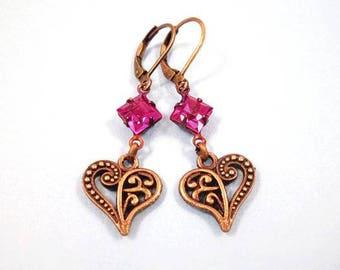 Rhinestone Earrings, Fuschia Glass Rhinestones and Hearts, Brass Dangle Earrings, FREE Shipping U.S.