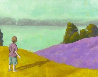 Clarity - original acrylic painting of a boy looking at the horizon landscape boy room nursery