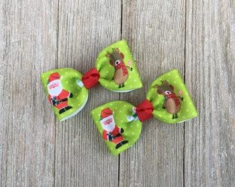 Christmas Hair Bows,Santa Bows,Reindeer Bows,Pigtail Hair Bows,3 Inch Wide Hair Bows,Alligator Clip Hair Bows,Non Slip Hair Bows