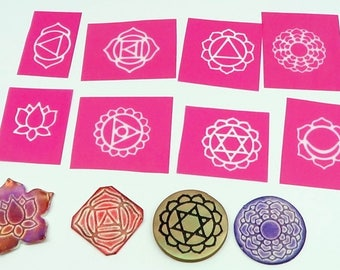 8 Chakra and Lotus Silkscreens for polymer clay, paper, fabric, glass, metal and more